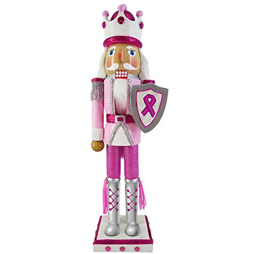 Christmas Nutcracker Figure King Pink Breast Cancer Support Sparkle Glitter And Rhinestones 15 Inch Exclusive …