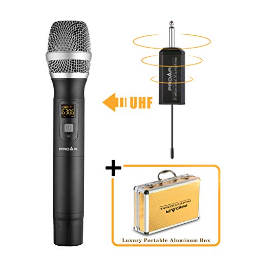 (PROAR Professional Handheld Wireless Microphone Set With Portable Receiver (Single, Black))
