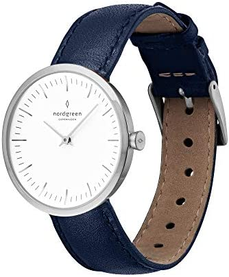 Nordgreen Infinity Scandinavian Silver Analog Quartz Watch with Leather or Mesh Interchangeable Straps