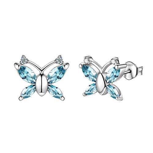 - 925 Sterling Silver Blue Butterfly Stud Earrings For Women Small Animal Studs London Blue Crystal Minimalist Butterflies Studs Earring Girls Dating Jewelry Cute Animal Jewellery For Wedding DE0139B