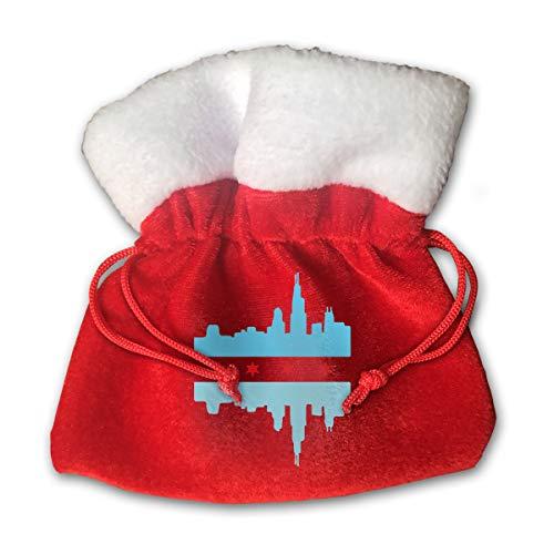 CYINO Personalized Santa Sack,Chicago Bule Flag Skyline Portable Christmas Drawstring Gift Bag (Red)