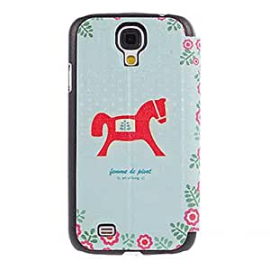 Hobbyhorse Drawing Pattern PU Leather Face Plastic Hard Back Cover Pouches for Samsung Galaxy S4 I9500