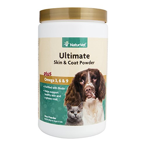 NaturVet Ultimate Skin & Coat Plus Omega 3, 6 & 9 for Dogs and Cats, 14 oz Powder, Made in USA