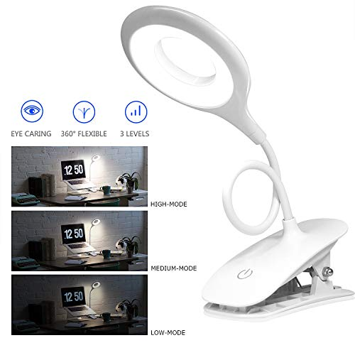 Reading Light [Rechargeable],Juhefa Clip-on Book Light for Reading in Bed,Touch Switch Bedside Lamp for Books in Desk (3-Level Brightness)