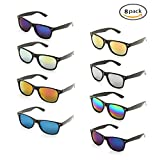 Onnea 8 Pack Wholesale Unisex 80'S Retro Style Promotional Mirror Lens Sunglasses Bulk (8-Pack Mix)