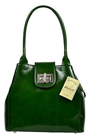 dd42aba6ac6b7 Schöne praktische Leder Grüne Handtasche aus Leder Angela Verde über die  Schulter