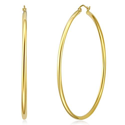 Wellingsale Ladies 14k Yellow Gold Polished 2mm Hinged Classic Hoop Earrings (55 x 55 mm) (55mm Hoop)