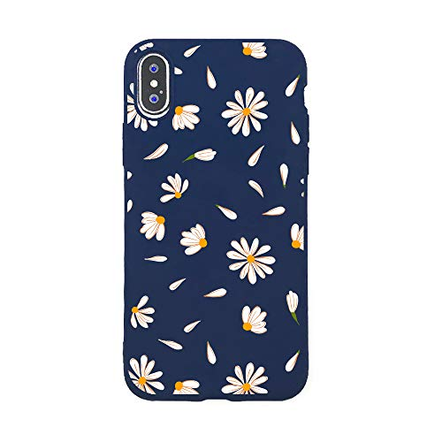 JOYLAND Daisy Case for iPhone Xs Max Bumper Floral Skin Anti-Scratch Shock Proof Navy Blue TPU Matt Case Cover Shell Compatible for iPhone Xs Max