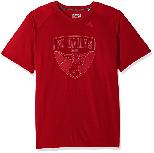 MLS FC Dallas Adult Men Full Time Ulimate S/Tee, Large, Power Red - Red Team Issue T-shirt