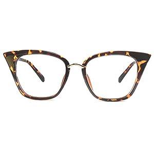 GLASSESLIT Women's Mod Super Trendy Fashion Cat Eye Clear Lens Eyeglasses