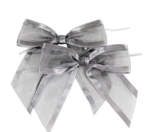 - Silver Pre-Tied Organza Bows with Twist Ties. Pack of 12 Satin-Edged Fabric Bows Made of 1-1/2