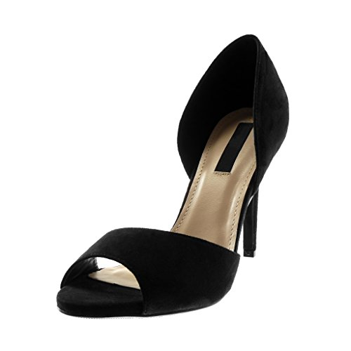 Angkorly Damen Schuhe Pumpe Sandalen - Stiletto - Slip-On - Peep-Toe Stiletto High Heel 10 cm Schwarz