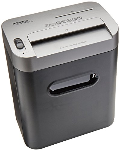 AmazonBasics 8-Sheet High-Security Micro-Cut Paper, CD, and Credit Card Shredder with Pullout Basket