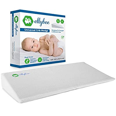 Ellybee Universal Crib Wedge Pillow for Baby Crib Mattress | Acid Reflux | Premium Bamboo Hypoallergenic Washable & Waterproof Cover | Foldable 14-degree Incline