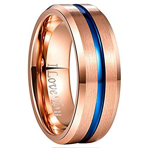 NUNCAD Rose Gold and Blue Tungsten Carbide Wedding Band Brushed Finish Comfort Fit Size 6.5