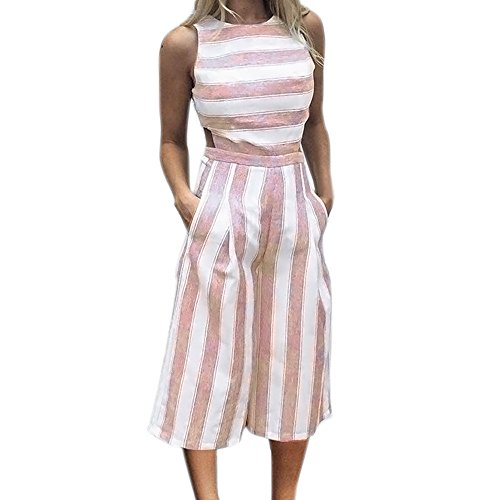 Dressin Women's Sleeveless Jumpsuit Summer Spring Casual Clubwear Wide Leg Pants Outfit Romper for Women Pink