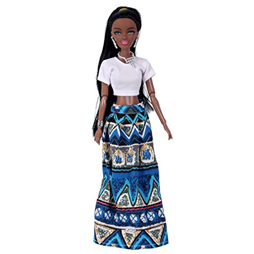 Fiaya Baby Movable Joint African Black Doll Toy Best Gift Toy (New Blue)