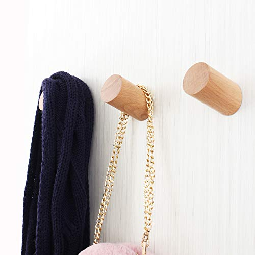 Home-Organizer Tech Decorative Natural Wooden Wall Hook Wall Mounted Hat Hanger Coat Hooks Towel and Robe Hook (Beech, One Piece)
