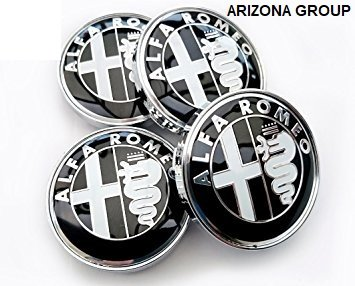 Arizona 60 mm Hubcaps Compatible with Alfa Romeo Rims MiTo Giulietta 147 156 159