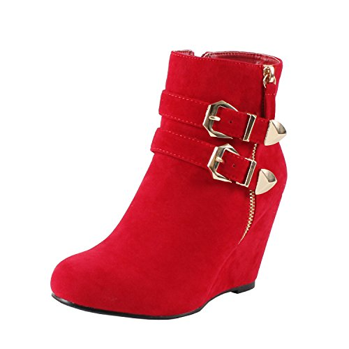 Womens Ankle Wedge High Heel Fashion Zipper Platform Ankle Bootie Boots