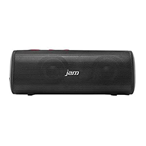 JAM Thrill Wireless Stereo Speaker, Built-In Speakerphone, Splash-Proof, Perfect for Pool Parties, Voice Prompts, Size of Water Bottle, Deep Bass, Crisp Tones, Mega Volume, HX-P320RD Red