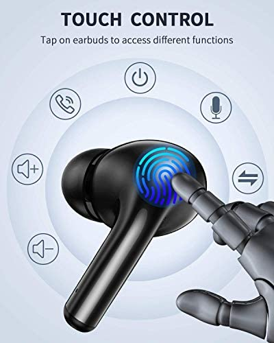 True Wireless Earbuds, TWS Bluetooth Headphones Stereo Sound Earphones, 46H Playtime & Wireless Charging Case, Sweat Proof Dual Bluetooth 5.1 Headset with Built-in Noise Cancelling Mic for Sports