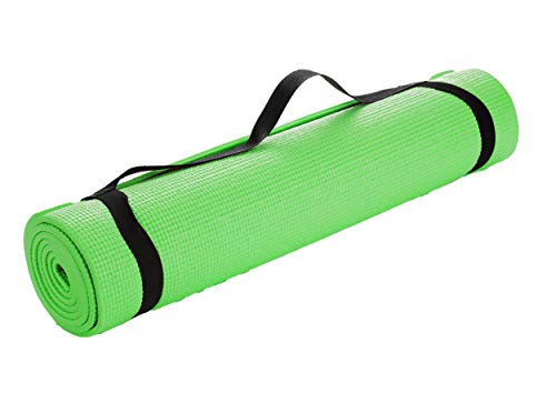 Mind Reader YOGAPVC-GRN All Purpose Extra Thick Yoga Fitness & Exercise Mats with Carrying Strap, High Density Anti-Tear…
