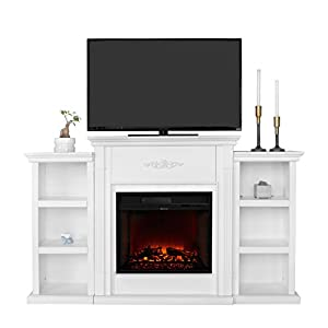 XtremepowerUS Electric Portable Fireplace W/ TV Stand, Bookcases, Large  (Ivory, With Fireplace)