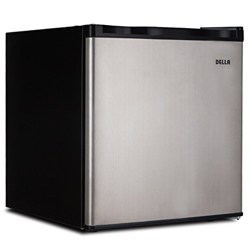 Della Compact Mini Refrigerator & Freezer, 1.6 Cubic Feet, Stainless Steel by DELLA