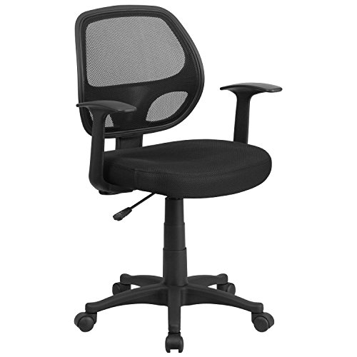 Flash Furniture Mid-Back Black Mesh Swivel Task Office Chair with T-Arms (Furniture Mart Virginia)