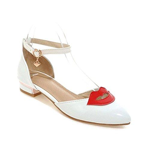 AIKAKA Zapatos de Mujer Spring Summer Flat Student Sandalias de Gran Tamaño White