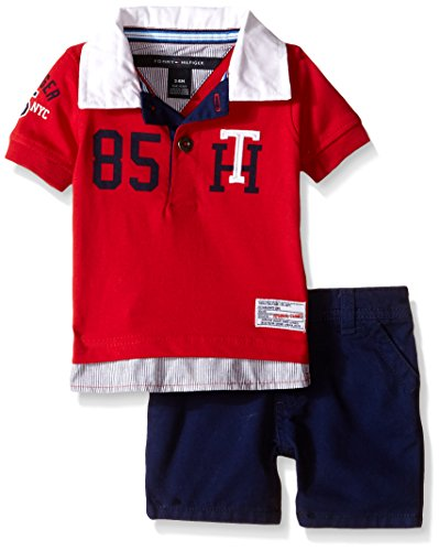Tommy Hilfiger Baby Boys' Knit Rugby Polo Shirt and Twill Shorts, Red, 3-6 Months - Tommy Hilfiger Polo Rugby