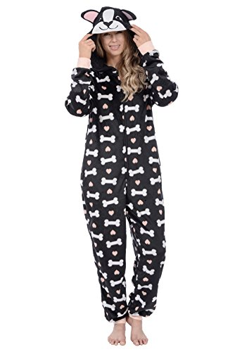 Body Candy Women's Sherpa Character Onesies (Doggy, Medium) ()