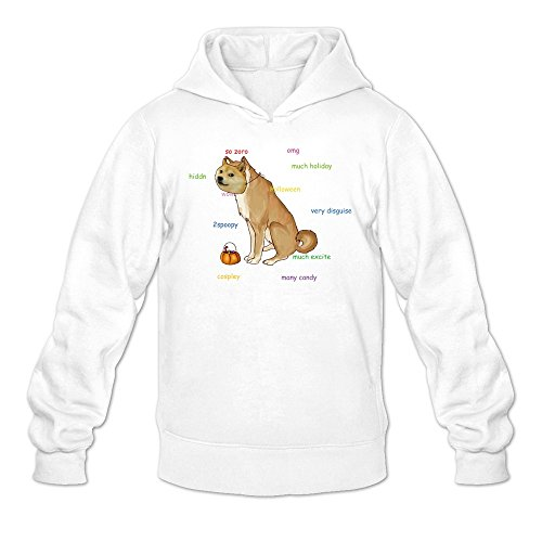 Men's Candy Halloween Pumpkin Face Doge Meme Sweatshirts White -