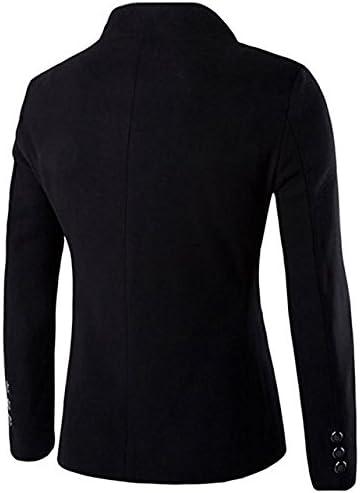 Mens Casual Business Blazer Solid Slim Fit Mandarin Collar Coat Single Breasted Fall Winter Woolen Outwear