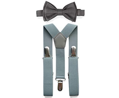 Light Grey Suspenders Bow Tie Set for Baby Toddler Boy Teen Men || Weddings Prom Homecoming Quinceañera (3. Boy (7-12 yrs), Light Grey Suspenders, Grey Bow Tie)