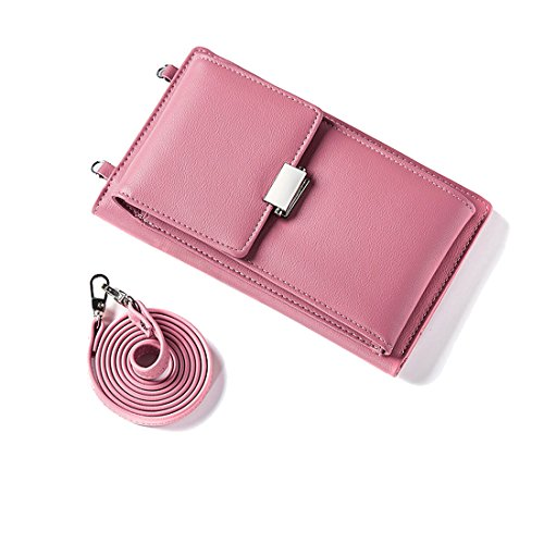 Crossbody Shoulder Bags Purse For Women Teengirls Leather Wallet Cellphone Cluch Pouch Card Case Holder Front Pocket Warmpink