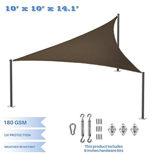 E&K Sunrise 10'x10'x14' Right Triangle Sun Shade Sail with Hardware Kit, Shade Fabric Cover Backyard Deck Sail Canopy UV Block - Brown - 10' Deck Scrub Brush