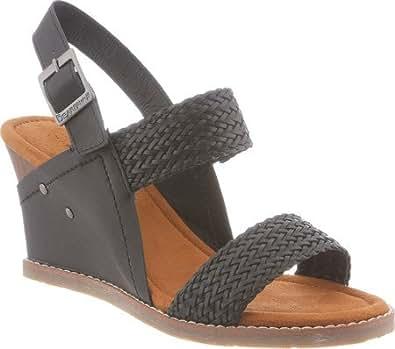 Bearpaw Women's Racquel Comfort Slingback Wedge Sandals, Black, 5 M