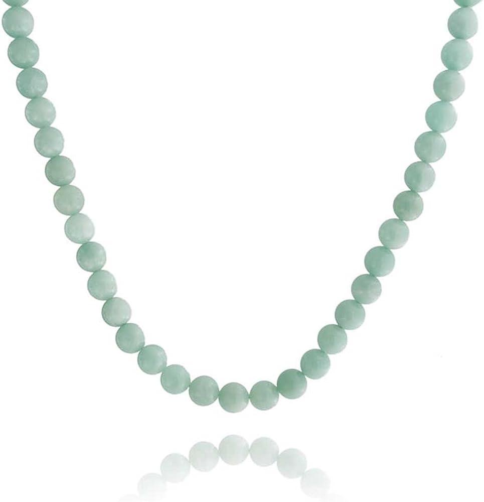 Bling Jewelry Luz Amazo Aqua Azul De Piedras Preciosas Redondo 10Mm Cordón Collar De Mujer Broche Chapado En Plata De 18 Pulg.