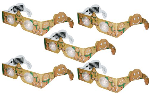 Holographic Glasses: 3D Gingerbread Man at Every Point of Light - 5 Pack