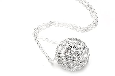 925 Sterling Silver Crystals Ball Pendant Necklace 18 Inch Sterling Silver 1mm Chain