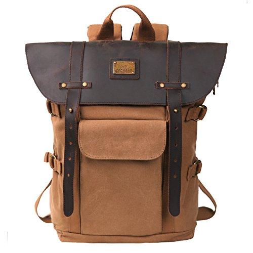 Leather Backpack for Men TOPWOLFS Canvas Backpack Vintage Rucksack fit 15.6