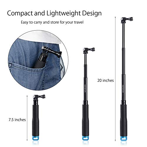 Vicdozia Extension Selfie Stick, Portable Hand Grip Waterproof Handheld Monopod Adjustable Pole Compatible with GoPro Hero(2018) Hero 8 7 6 5 4 AKASO SJCAM DJI OSMO Action and More Sports Cameras