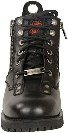 Black, Size 7.5 Milwaukee Leather Womens Short Boots with Zip Closure