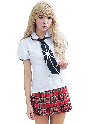 Avide Women White shirt Sexy Schoolgirl Uniform Pleated Skirt Outfits (Sexy School Uniforms)