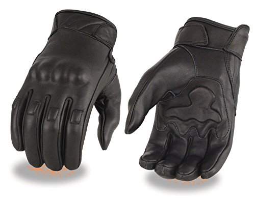 Men's Leather Glove w/ Gel Palm & Knuckle Protectors (Large) (Naked Leather Motorcycle Gloves)