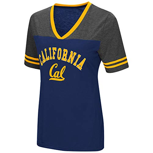 Colosseum Women's NCAA Varsity Jersey V-Neck T-Shirt-Cal Golden Bears-Yale Blue-Medium - Cal Womens Shirts