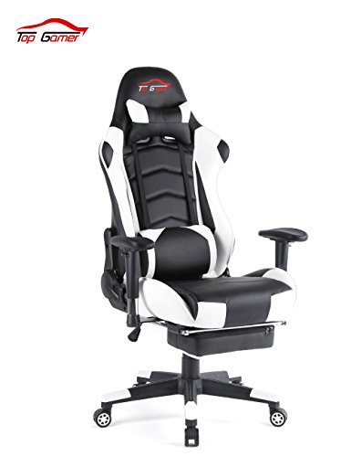 Top Gamer Gaming Chair High Back PC Computer Game Chair Office Chairs for Video Game (White/Black,18)
