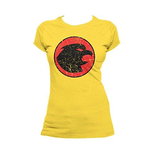 DC Comics Hawkgirl Distressed Logo Official Women's T-Shirt (Yellow) (Hawkgirl T Shirt)